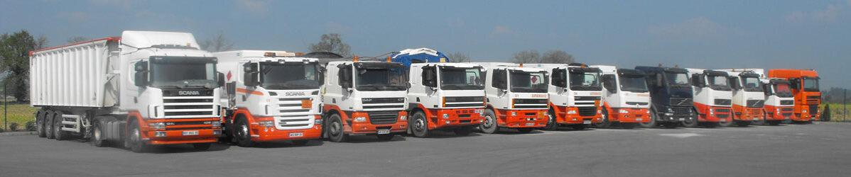 Parc camions Transports PERRIER à Etrelles - Transporteur Breton